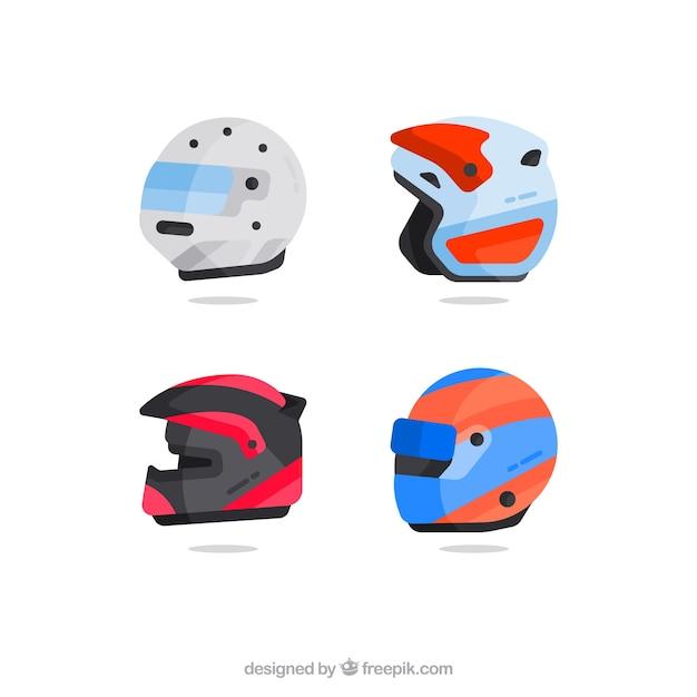 Motorcycle helmets pack Free Vector