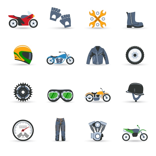 Motorcycle icons set Premium Vector