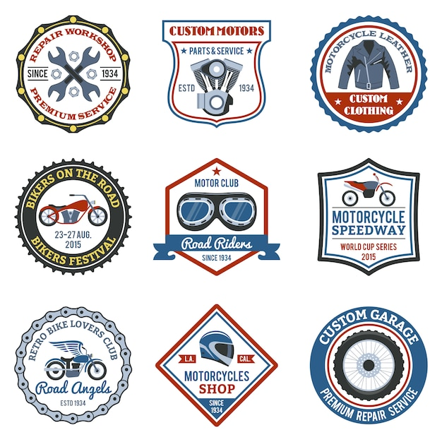 Motorcycle label colored Free Vector