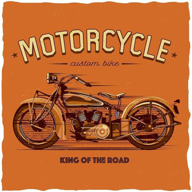 Motorcycle label design Free Vector