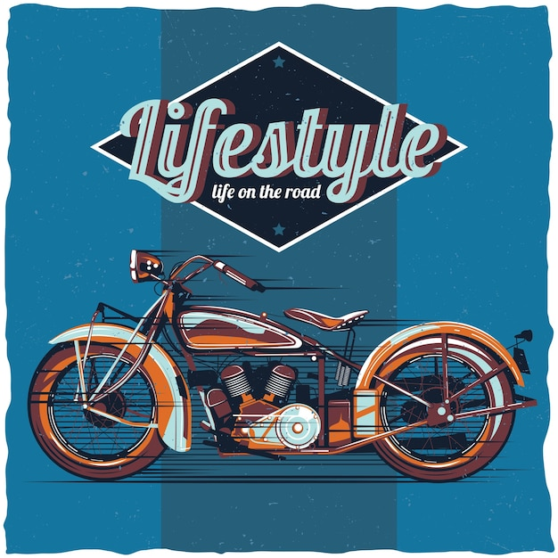 Design dell'etichetta del motociclo Vettore gratuito