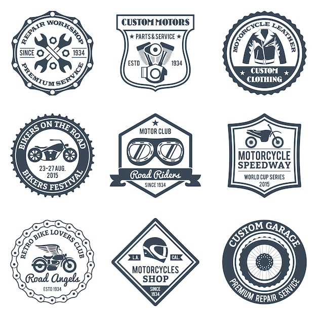 Motorcycle labels black Free Vector