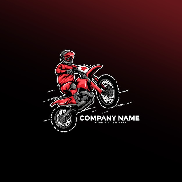 Motorcycle logo motocross freestyle Premium Vector