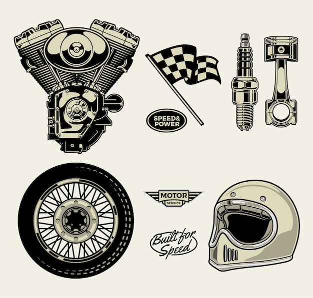 Motorcycle pack Premium Vector