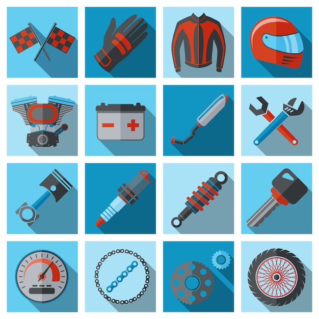 Motorcycle parts and elements set on flat style Premium Vector