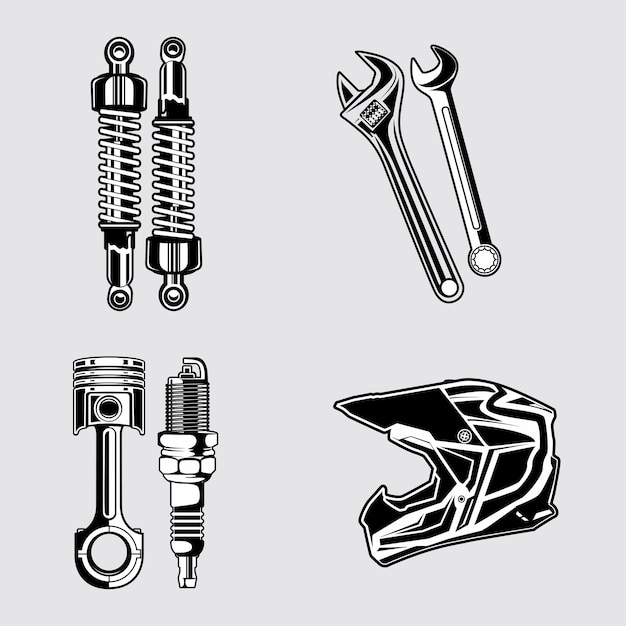 Motorcycle parts Premium Vector