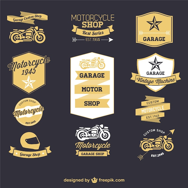 Motorcycle retro labels set Free Vector