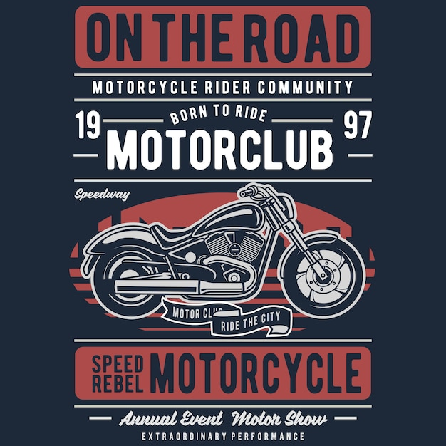 Motorcycle on the road Premium Vector