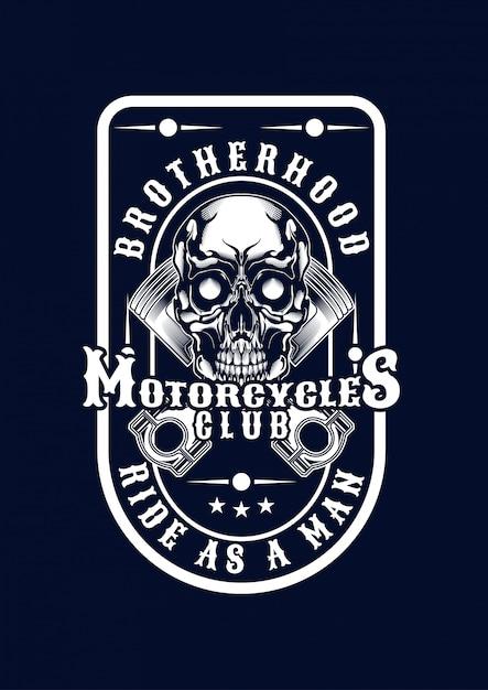 Motorcycle skull illustration for t-shirt Premium Vector