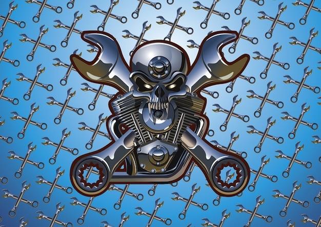 Motorcycle Skull Free Vector