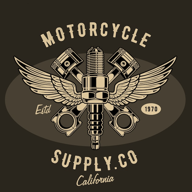 Motorcycle supply illustration Premium Vector