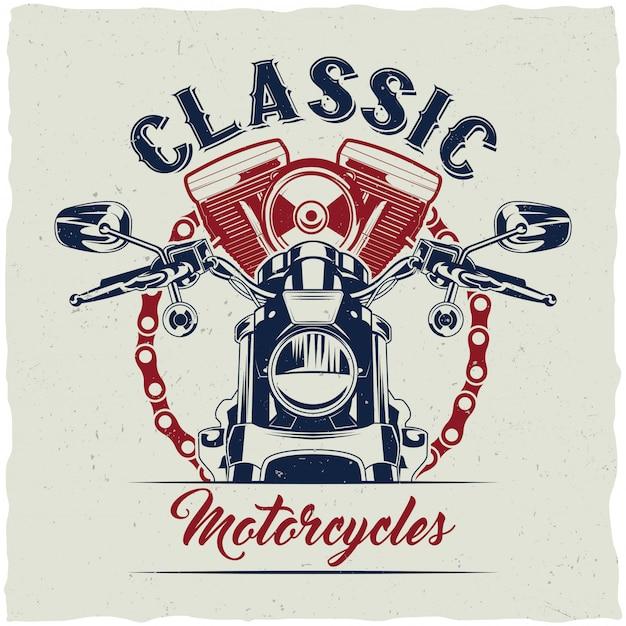 Дизайн этикетки футболки мотоцикла с иллюстрацией классического мотоцикла. Бесплатные векторы