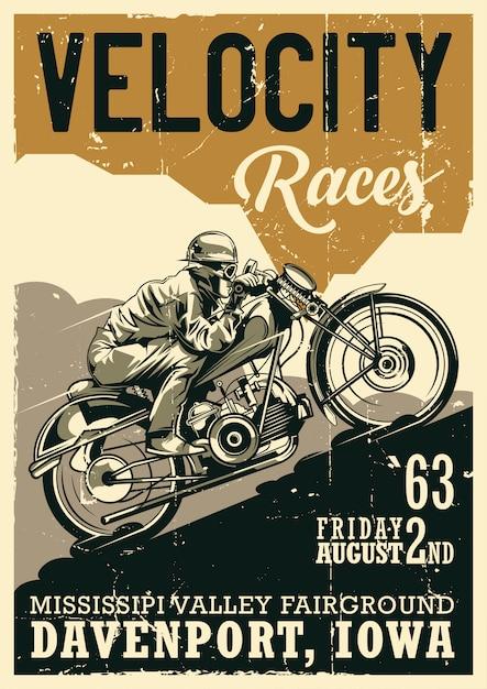 Design di poster vintage tema motociclistico con illustrazione del motociclista in sella a moto d'epoca Vettore gratuito