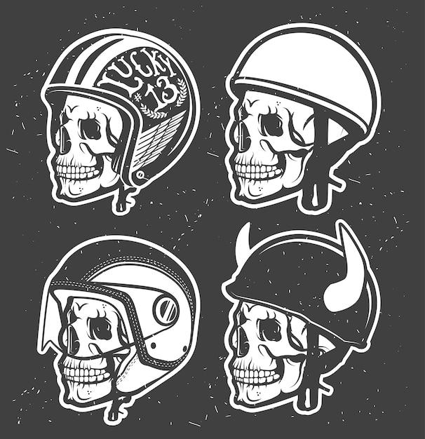 Мотоциклетный тематический шлем ручной работы с черепом. Premium векторы