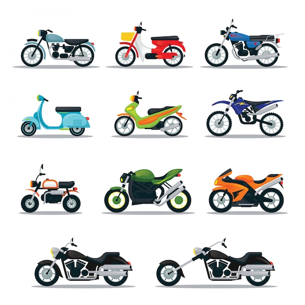 Motorcycle types and models objects set, multicolor Premium Vector