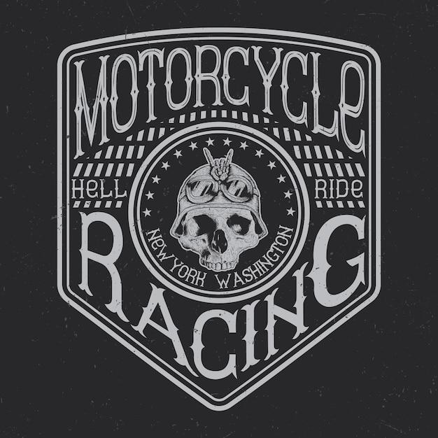 Типография для мотоциклов, графика на футболках, дизайн эмблем и этикеток Бесплатные векторы