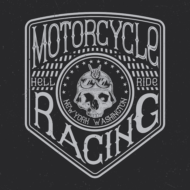 Motorcycle typography, t-shirt graphics, emblem and label design Free Vector