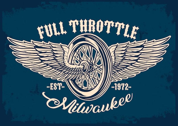 Motorcycle tyre and wings emblem Premium Vector