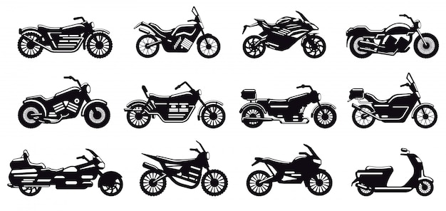 Motorcycle vehicle silhouette. modern speed race bike, scooter and chopper side view, motorcycle body silhouette  illustration icons set. black monochrome motorbike for delivery or motocross Premium Vector