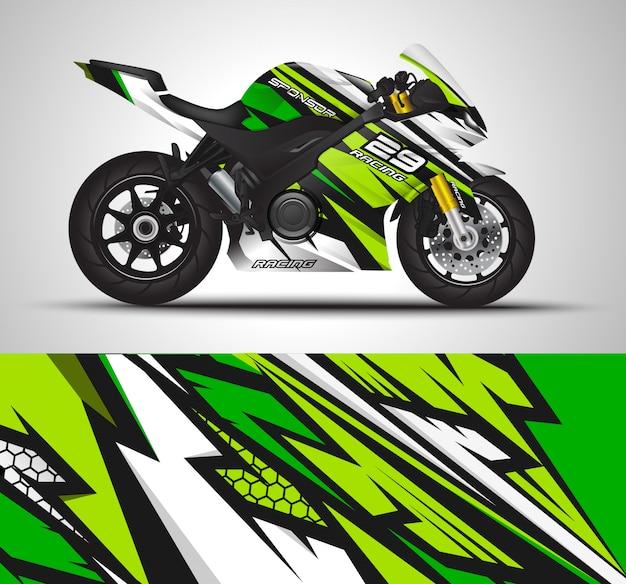 Мотоцикл обертка наклейка и виниловые наклейки иллюстрации. Premium векторы