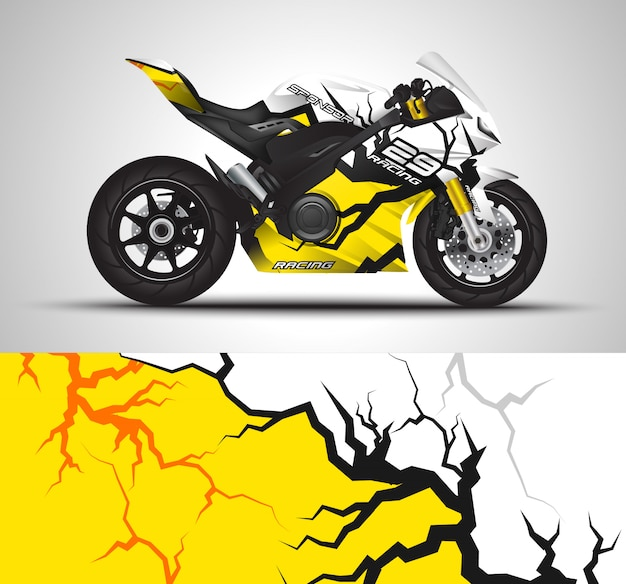 Motorcycle wrap decal and vinyl sticker Premium Vector
