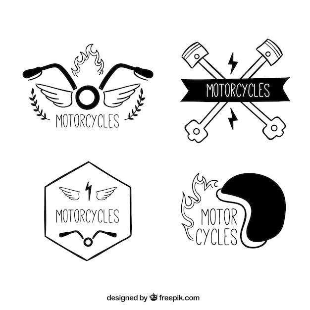 Motorcycles, hand drawn logos