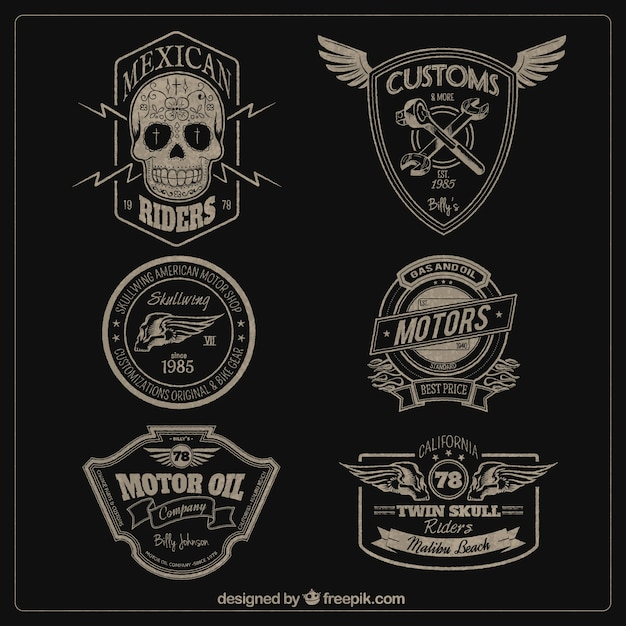 Motors badges Free Vector
