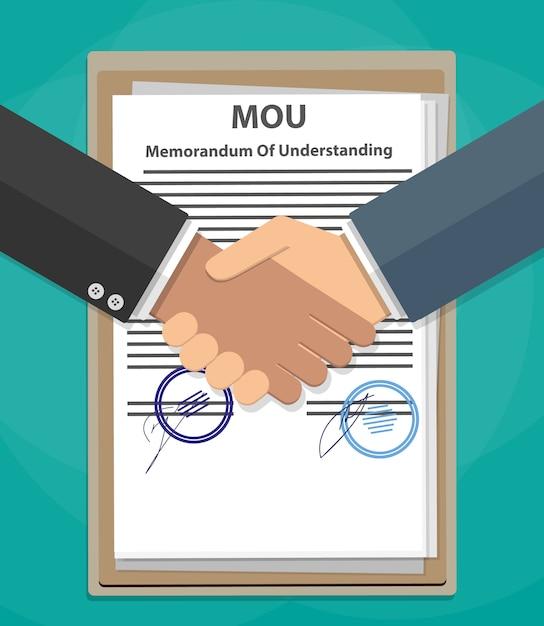 Меморандум о взаимопонимании по рукопожатию Premium векторы