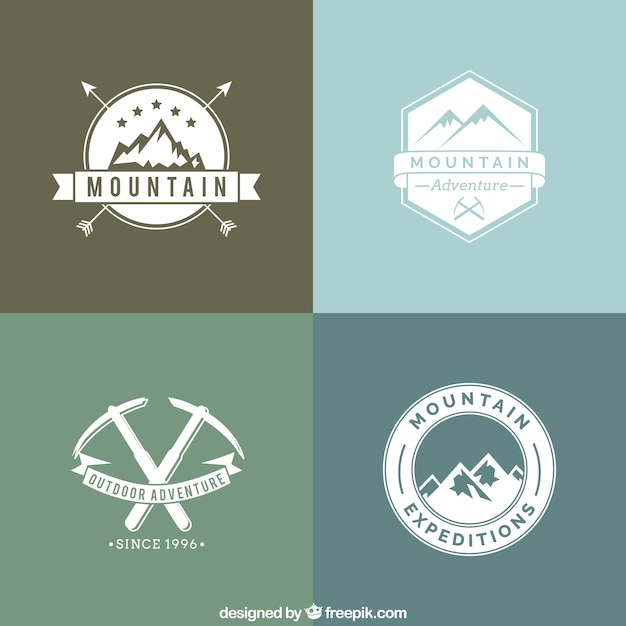 Mountain adventure badges in retro style