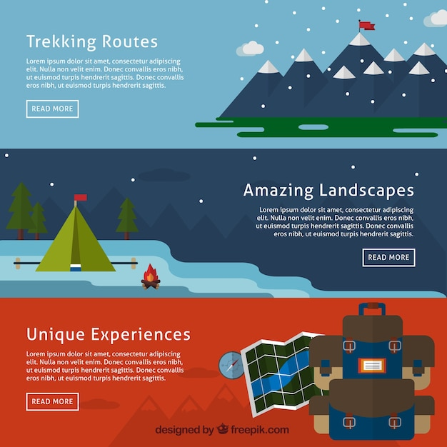 Mountain adventure banners