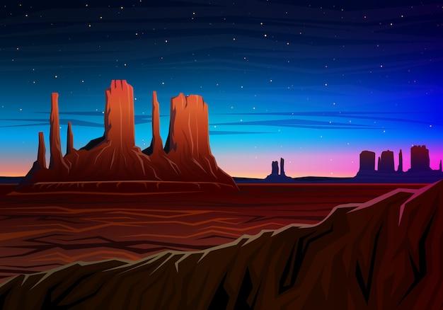 山とモニュメントバレー、夜景のパノラマビュー、山頂、昼間の早い風景。 Premiumベクター