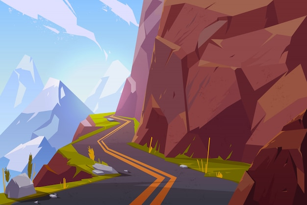 Mountain asphalt road, curly winding empty highway in rocky summer time countryside landscape. Free Vector