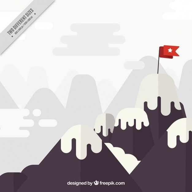 Mountain background with a red flag
