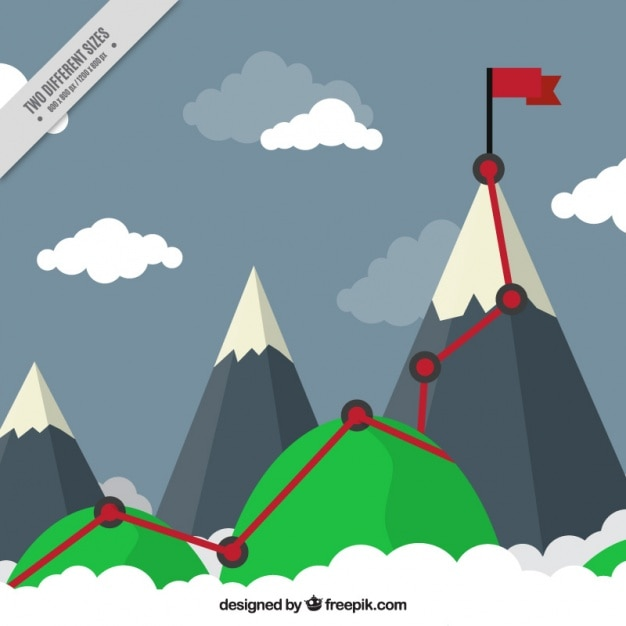 Mountain background with path and goal in flat\ design