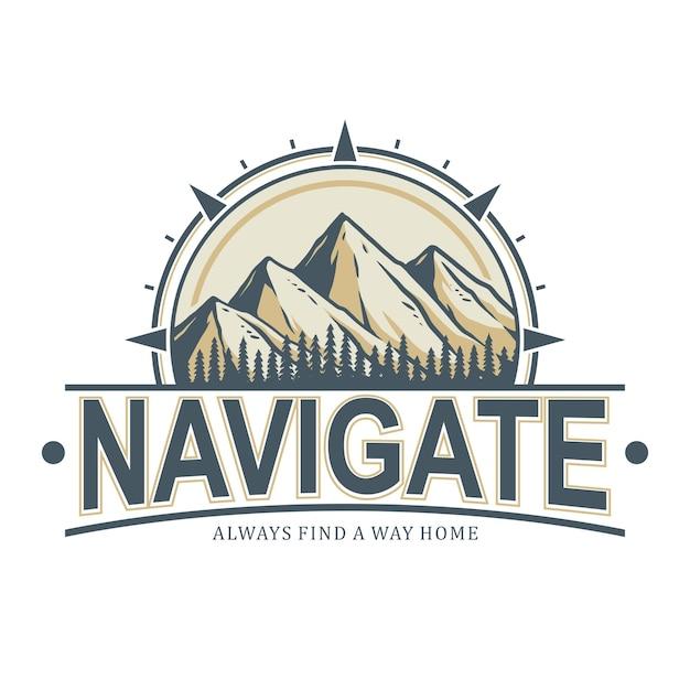 Значок горы, готовый к использованию в качестве логотипа, легко меняющийся цвет и текст Premium векторы