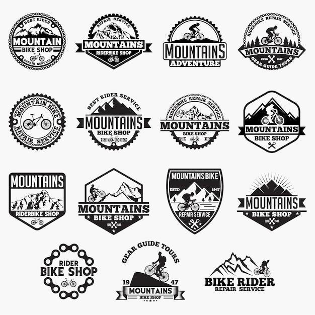 Mountain bike badges Premium Vector