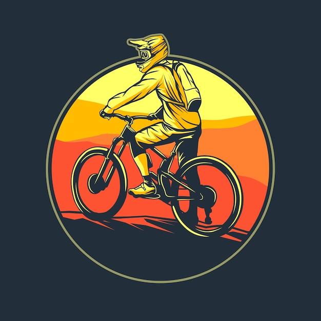Графическая иллюстрация горного велосипеда Premium векторы