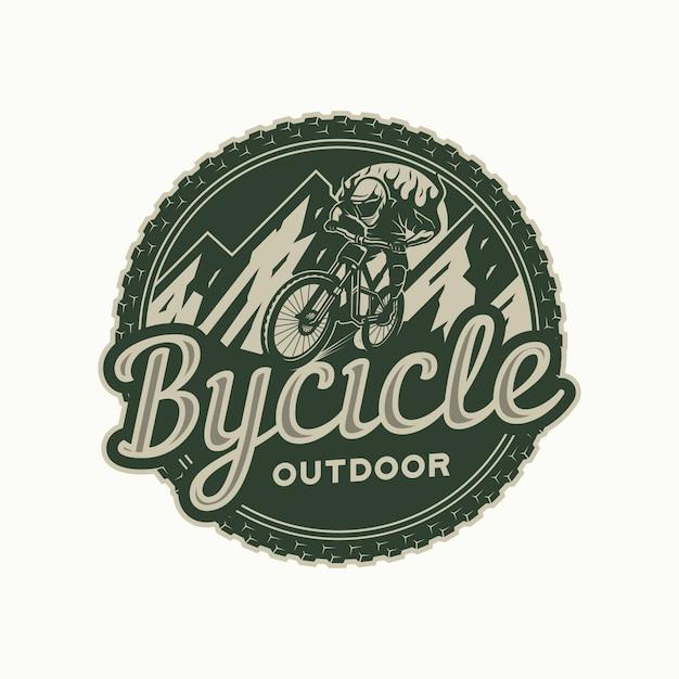 Mountain bike logo circle badge Premium Vector