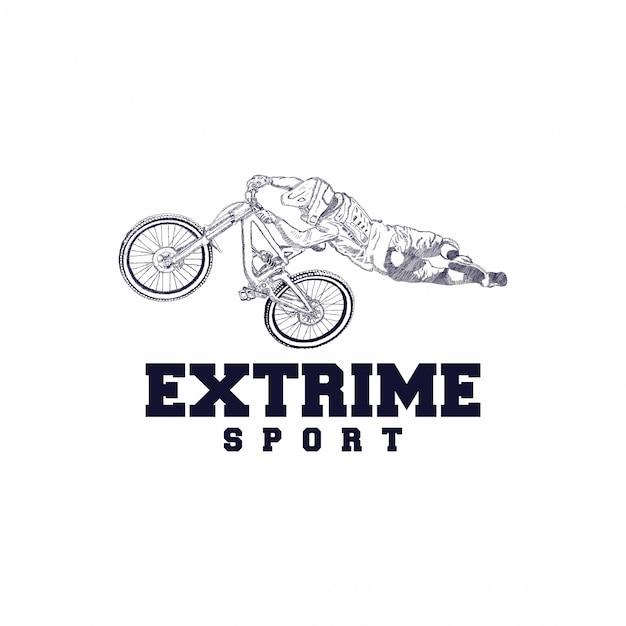 Вектор иллюстрации дизайна логотипа горного велосипеда Premium векторы