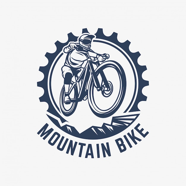 Mountain bike vintage logo template gear and cyclist illustration Premium Vector