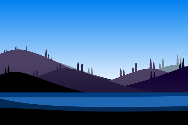 Mountain and blue sky cartoon background Premium Vector
