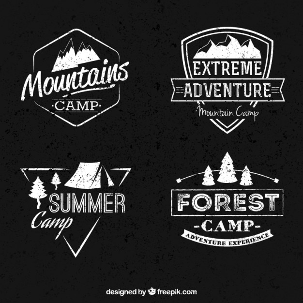 Mountain camp banners collection Free Vector