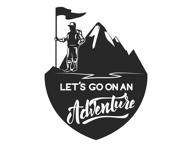 Mountain camp emblem template.  element for logo, label, emblem, sign.  illustration Premium Vector