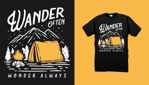 Mountain camping tシャツデザイン Premiumベクター