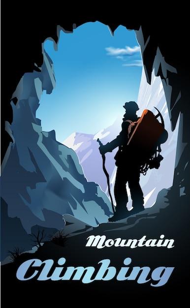 登山イラスト。バックパックと山のパノラマを持つ登山家。 Premiumベクター