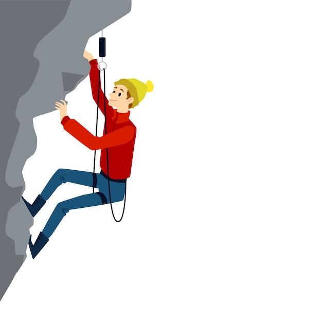 Альпинистский человек с оборудованием на вертикальном подъеме на серой скале. молодой экстремальный альпинист, улыбаясь на белом фоне - иллюстрация Premium векторы