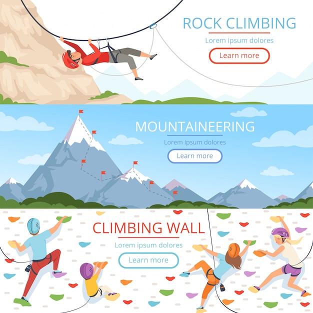 登山写真。ロープカラビナヘルメットロッキーヒルズ人々極端なスポーツベクトルバナーテンプレートのテキスト Premiumベクター