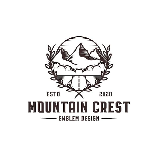 Шаблон логотипа mountain crest Premium векторы