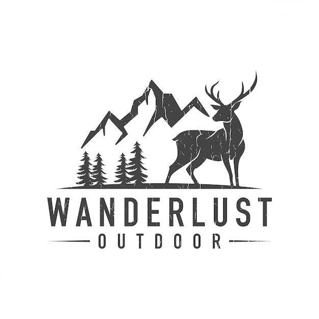 Mountain deer logo Premium Vector