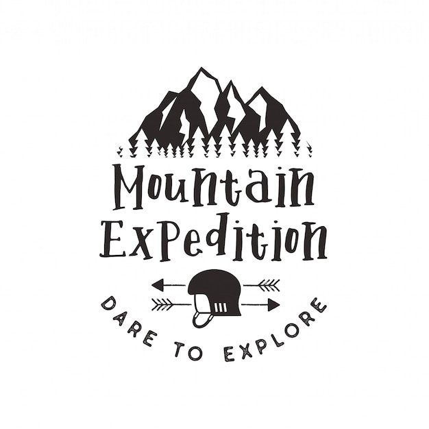 Mountain expedition label with climbing symbols and type design - dare to explore. vintage letterpress style logo emblem isolated on white Premium Vector